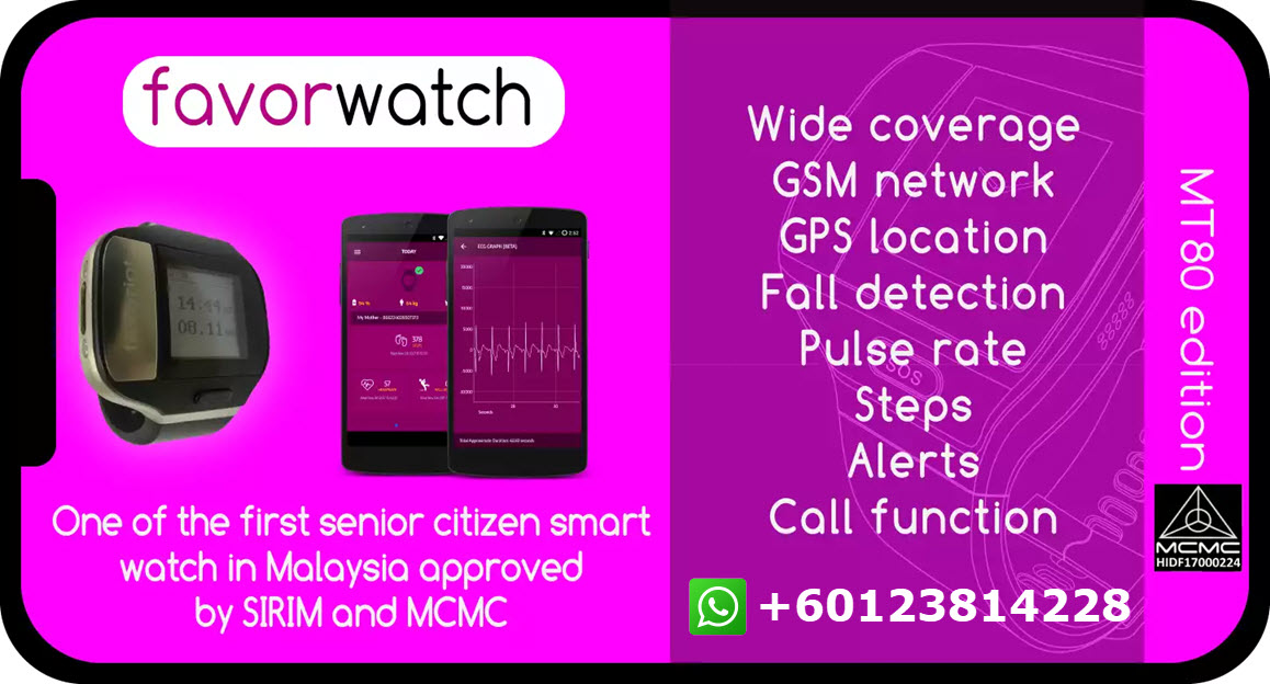 Favorwatch medical device for elderly people | +60123814228
